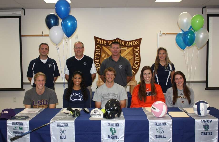 From left to right Elliot Dewlen signs to swim at LSU, Meaghan Coleman signs to take her golfing talents to Penn State, David Ellingson signs to play baseball for Georgetown, Alex Thorson signs to University of Virginia to be apart of their volleyball team, Cori Schrier signs to play volleyball for Texas State (Courtesy of College Park Athletic Department)