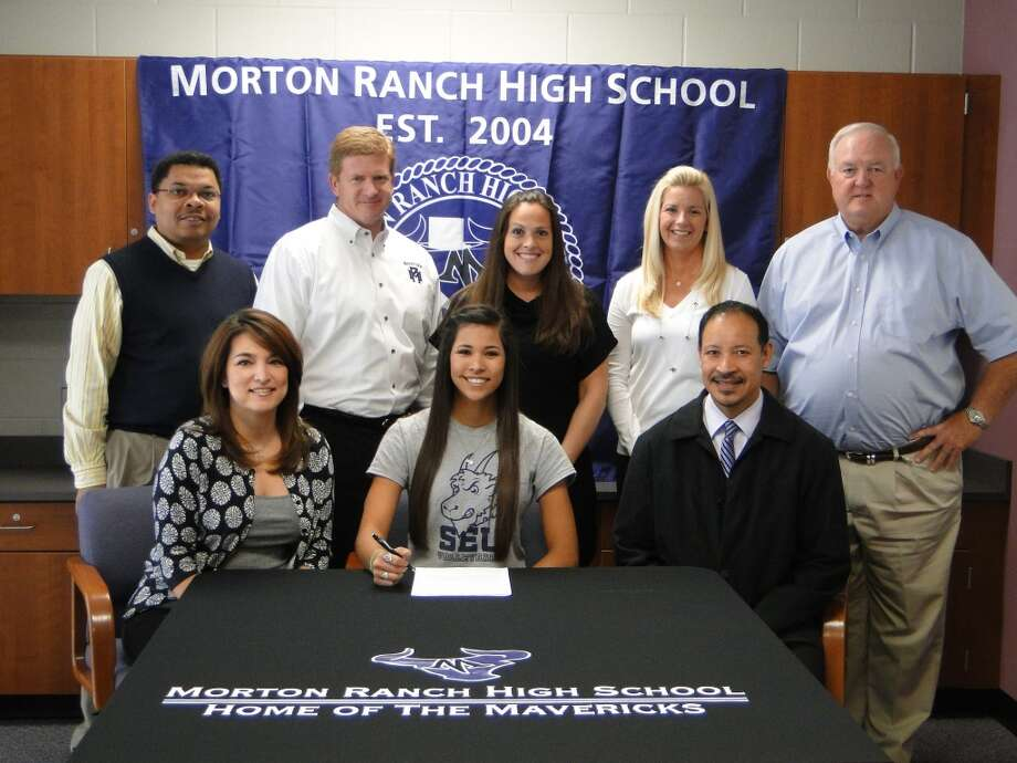 Karina Gonzalez from Katy Morton Ranch signed her Letter of Intent to play volleyball for St. Edwards in Austin (Courtesy of Katy Morton Ranch Athletic Department)