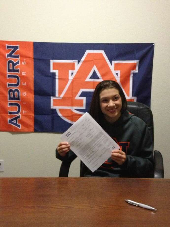 Kullen Hlawek from Katy Seven Lakes signed her Letter of Intent for the Auburn Tigers Gymnastic Team (Courtesy of Richelle Hlawek)