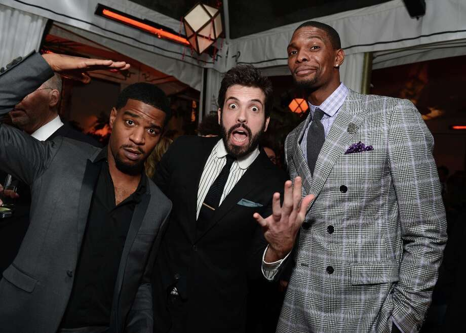 (L-R) Musician Kid Cudi, GQ Senior Editor Will Welch and NBA player Chris Bosh attend the GQ Men of the Year Party at Chateau Marmont on November 13, 2012 in Los Angeles, California.  (Photo by Michael Kovac/Getty Images For GQ) Photo: Michael Kovac, Getty Images For GQ / 2012 Getty Images