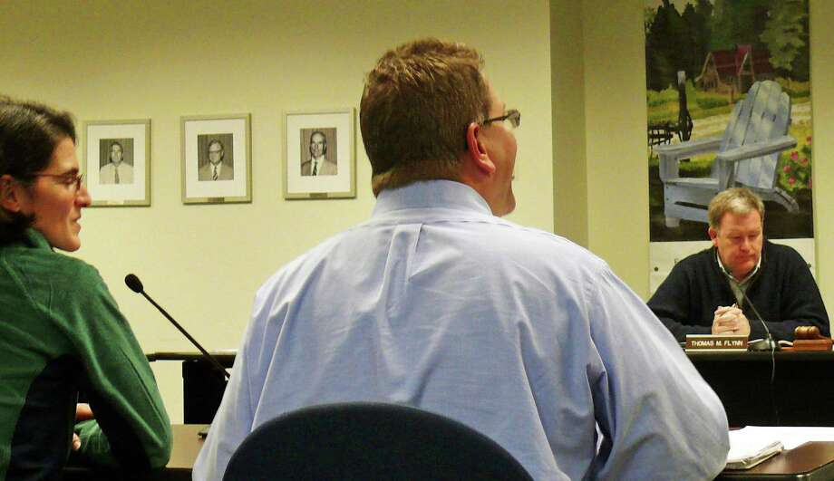 Selectman Cristin McCarthy Vahey and Non-Profit Committee Chairman Chris DeWitt explain the committee's recommendations to the Board of Finance. Fairfield, CT 11/14/12 Photo: Genevieve Reilly / Fairfield Citizen