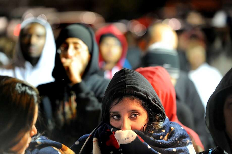 Miriam Morales of Castro Valley joins several hundred shoppers lined up outside a San Leandro, Calif., Target store shortly before its 4 a.m. Black Friday opening on Friday, Nov. 26, 2010. (Noah Berger / Special to The Chronicle)