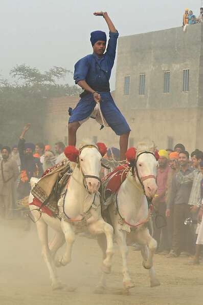 Ride and Sikh: In Amritsar, India, a Sikh religious warrior of the Nihang Army stands tall on