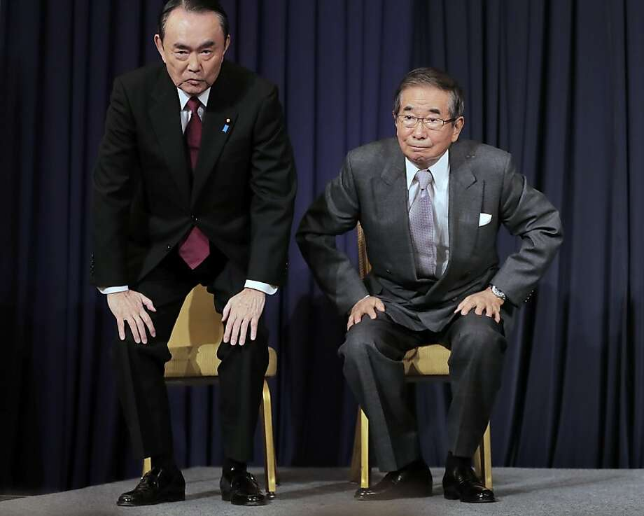 But enough politics, let's do the Charleston! Former Tokyo Gov. Shintaro Ishihara (right) and his ally, Takeo Hiranuma, launch their new nationalist political party - The Sunrise Party - in Tokyo. The outspoken Ishihara, 80, who played a key role in reviving a territorial dispute with China, is sharing party leadership with veteran lawmaker Hiranuma, 73, in an effort to fix the nation's fiscal and political problems. Photo: Itsuo Inouye, Associated Press