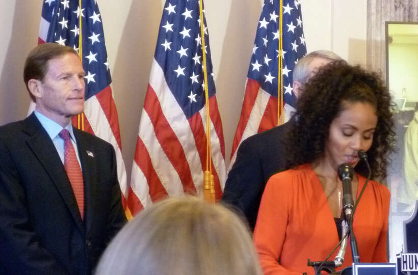 Senator Richard Blumenthal (D-Conn.) was joined by Jada Pinkett Smith on Wednesday Nov. 14 as he ann