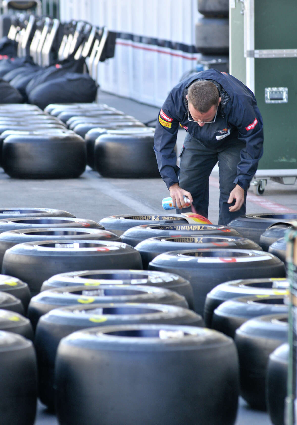A crewman does preperation work as Formula 1 race teams set up Wednesday at Austin's Circuit of the America's for Sunday's United States Grand Prix. San Antonio businessman Red McCombs the major investor in the track.