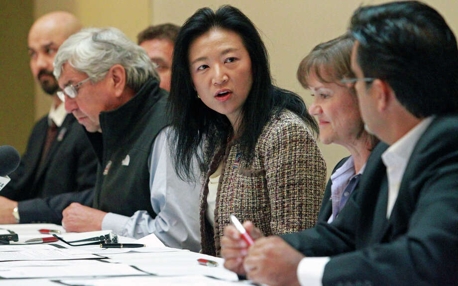 City Council member Elisa Chan speaks for representatives of the Texas South- International Alliance during a signing of a memorandum to recruit foreign investment on November 14, 2012. Photo: Tom Reel, San Antonio Express-News / ©2012 San Antono Express-News