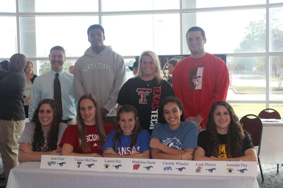 Top Left to Right: Josh Friar signs to play basketball for the University of North Texas, Cassie McClure signs to play softball for Texas Tech University, Hunter Leahy signs to play basketball for Pittsburg State University (KS),Bottom Left to Right: Lauren Day signs to swim for Maryland-Baltimore County, Madeline Hazel signs to swim for University of Wisconsin, Leah Phitzer signs to swim at Kansas University, Cassidy Wheeler signs to play volleyball at UT Arlington, Amanda Day signs to swim at Maryland-Baltimore County   (Courtesy of Kingwood Athletic Department )