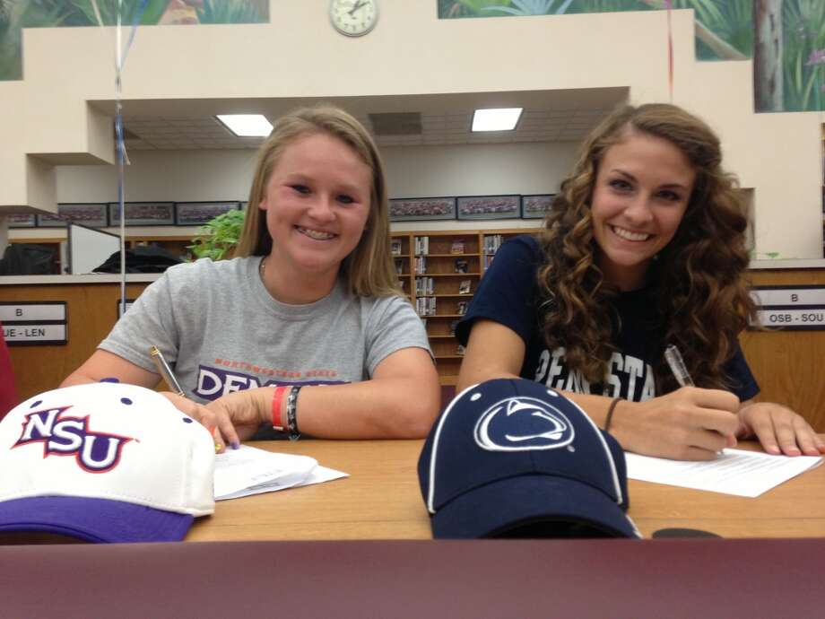 Micayla Sorosiak, left, signed with Northwestern State University. (Courtesy of Fort Bend Athletic Department)