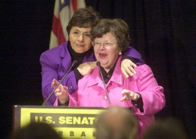 Senator Barbara Mikulski, right, being hugged by U.S. Senator Barbara Boxer of California, left. (Darryl Bush/San Francisco Chronicle).