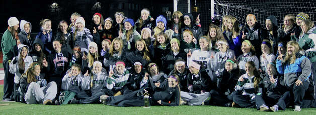 The New Milford High field hockey team gathers for a keepsake photo following their co-championship performance in the South-West Conference title match vs. Lauralton Hall, Nov. 6, 2012 at Pomperaug High School in Southbury.  Courtesy of Dr. Benjamin Waldman Photo: Contributed Photo