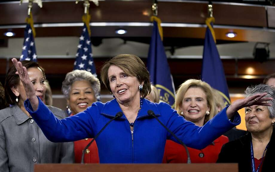 House Minority Leader Nancy Pelosi speaks as female House Democrats, whom she called her sisters, gathered around her. Photo: J. Scott Applewhite, Associated Press