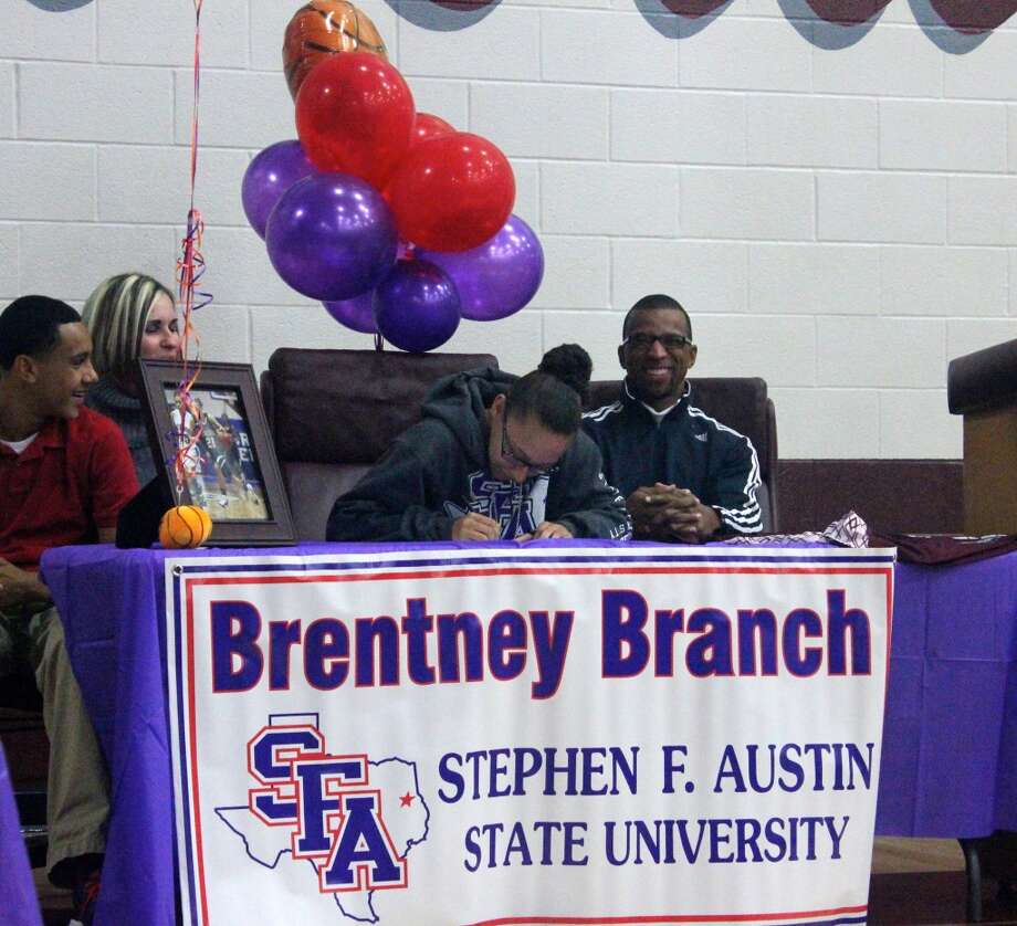 Brentney Branch of Clear Creek HS signs to SFA Women's Basketball Team (Courtesy of Clear Creek Athletic Department)