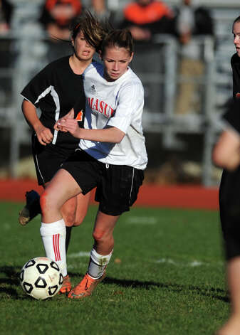 Masuk's Jaime Madden controls the ball during the Class LL quarterfinals against Watertown Wednesday, Nov. 14, 2012 at Masuk High School in Monroe, Conn. Photo: Autumn Driscoll / Connecticut Post