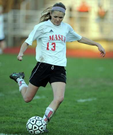Masuk's Michelle Andrzejewski controls the ball during the Class LL quarterfinals against Watertown Wednesday, Nov. 14, 2012 at Masuk High School in Monroe, Conn. Photo: Autumn Driscoll / Connecticut Post