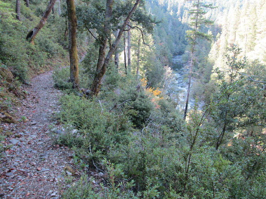 Trail emerges along the South Fork Smith River (Tom Stienstra/The Chronicle)