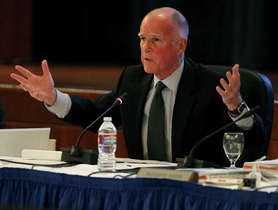 Gov. Jerry Brown attends the UC Board of Regents meeting to observe and discuss budgetary issues after the passage of Prop. 30 in San Francisco, Calif. on Wednesday, Nov. 14, 2012. Photo: Paul Chinn / The Chronicle / ONLINE_YES