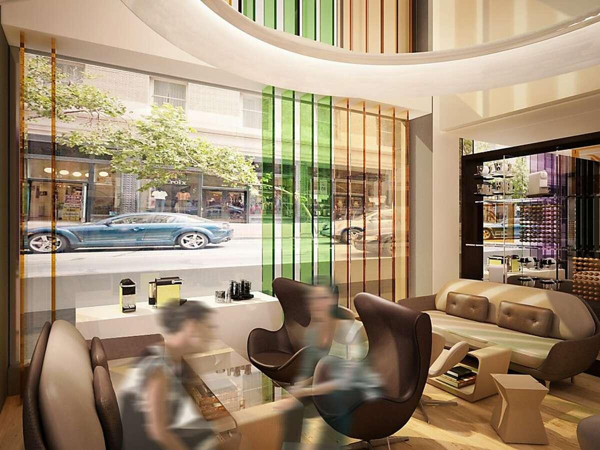 Interior rendering of West Coast Nespresso store.