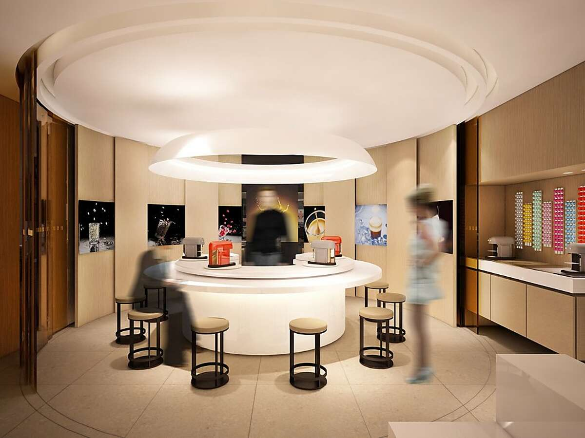 Interior rendering of the first West Coast Nespresso store, scheduled to open later this month, at the corner of Grant Avenue and Geary Street, San Francisco.