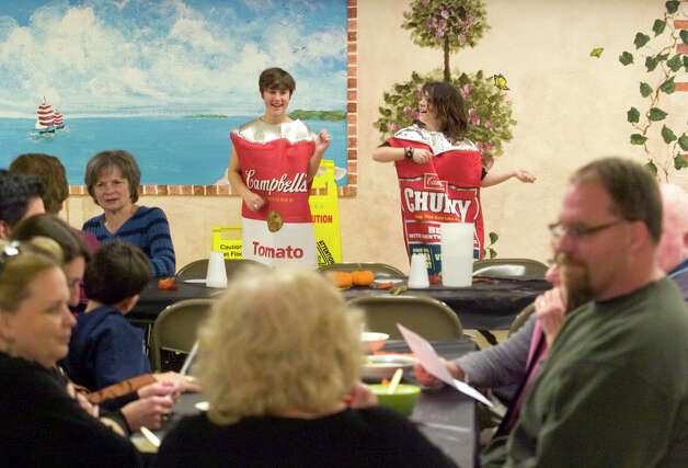 Ruby Kenausis, left, and Ariel Giacoma provide entertainment during the ProAccess the Bethel Teen Center's Souper Soup Day at the Hurgin Municipal Center in Bethel on Wednesday, Nov. 14, 2012. Photo: Jason Rearick / The News-Times