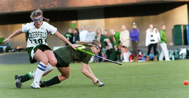 Greenwich Academy's Emilia Tapsall scoring another goal in a NEPSAC (New England Preparatory School Athletic Council) field hockey quarterfinal game against Deerfield Academy played at Greenwich Academy, Greenwich, CT Wednesday November14th 2012. Photo: Mark Conrad / Stamford Advocate Freelance