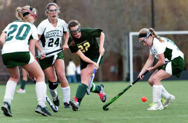 Greenwich Academy's Emma Olney and Deerfield Academy's Lucy Lytle battle for the ball in a NEPSAC (New England Preparatory School Athletic Council) field hockey quarterfinal game played at Greenwich Academy, Greenwich, CT Wednesday November14th 2012. Photo: Mark Conrad / Stamford Advocate Freelance