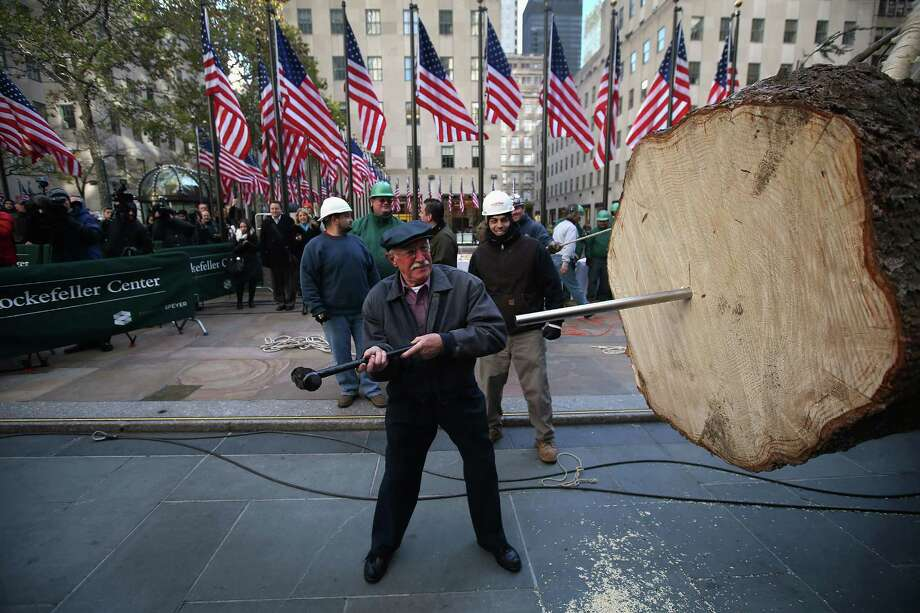 Joe Balku, who donated the tree, drives a stake into the Rockefeller Center Christmas tree before workers stood it up on November 14, 2012 in New York City. The tree, an 80-year old Norway Spruce, was donated Balku of Flanders, New Jersey. It weighs approximately 10 tons, measures 80 feet tall and is 50 feet in diameter. The official tree-lighting ceremony will be Wednesday, November 28. Photo: John Moore, Getty Images / 2012 Getty Images