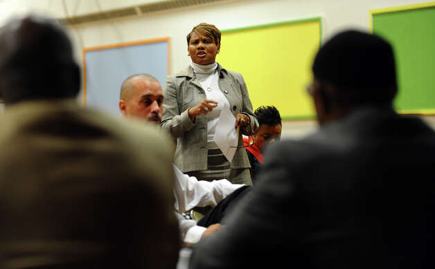 Dr. Valerie Quarles-Walker offers up a comment during a panel discussion held by the A.C.L.U. and local activist group EMPOWER (Enlightened Motivated People Organized With Equal Resposibility) which talked about the issue of a cufew in the city as well as other topics and was held at the McGivney Community Center in Bridgeport, Conn. on Wednesday November 14, 2012. Photo: Christian Abraham / Connecticut Post