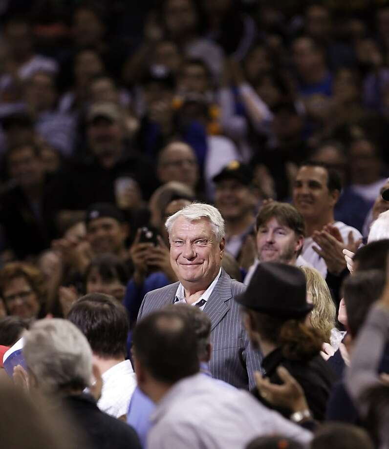 Warriors and Hall of Fame coach Don Nelson smiles as he is introduced in pre-game ceremonies before the Golden State Warriors played the Atlanta Hawks at Oracle Arena in Oakland, Calif., on Wednesday, November 14, 2012. Photo: Carlos Avila Gonzalez, The Chronicle