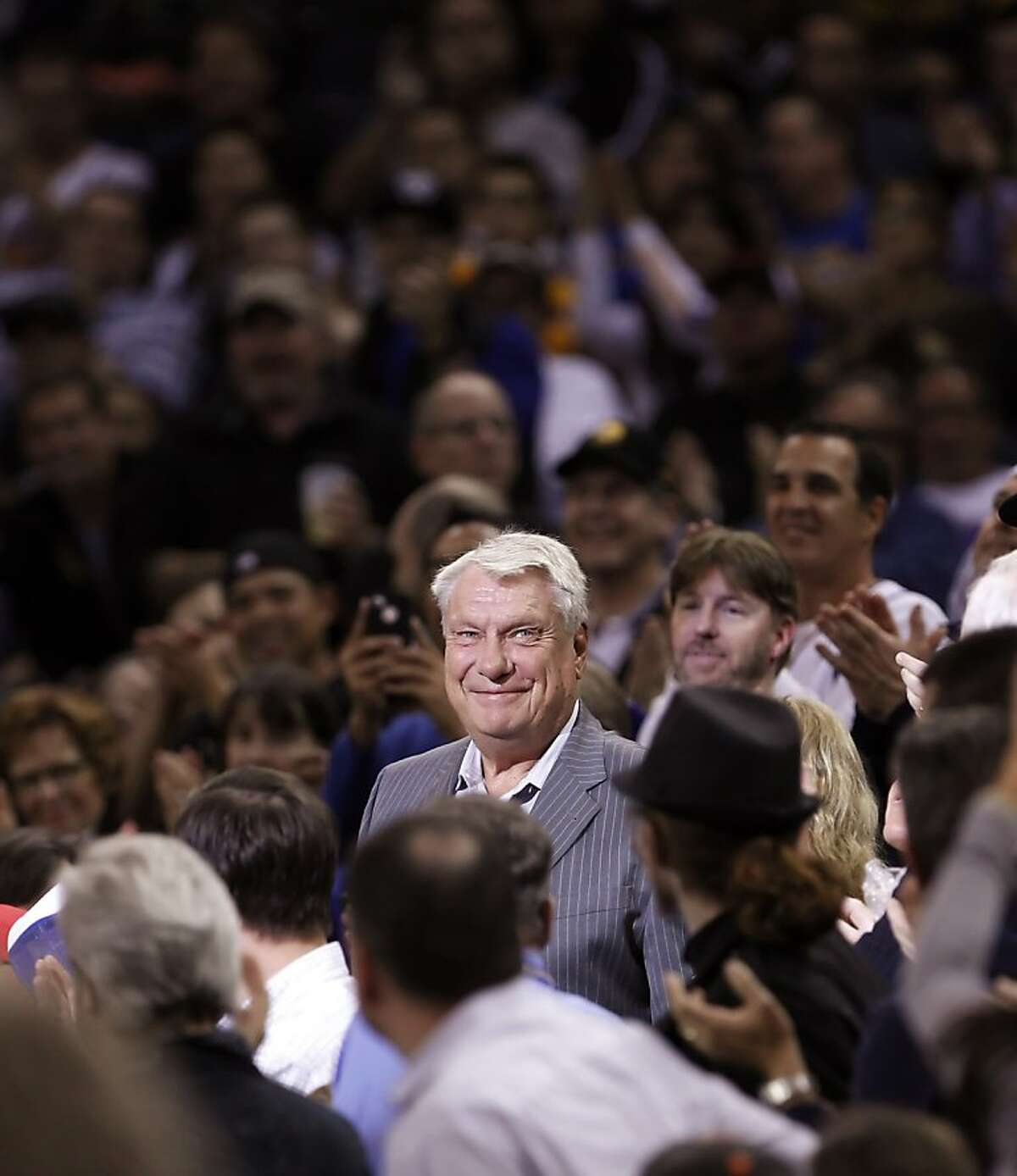 Warriors and Hall of Fame coach Don Nelson smiles as he is introduced in pre-game ceremonies before the Golden State Warriors played the Atlanta Hawks at Oracle Arena in Oakland, Calif., on Wednesday, November 14, 2012.