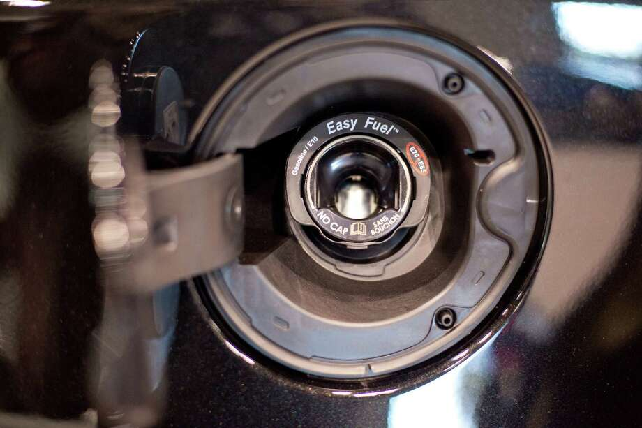 A cap-less Ford fuel-filler system is shown on Wednesday, November 14, 2012 during the opening day of the Seattle Auto Show at CenturyLink Field Events Center. Photo: JOSHUA TRUJILLO / SEATTLEPI.COM