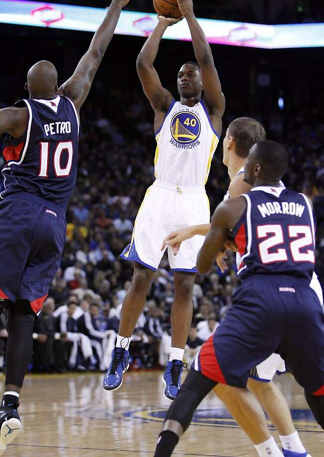 Harrison Barnes puts up a shot in the first half as the Golden State Warriors played the Atlanta Hawks at Oracle Arena in Oakland, Calif., on Wednesday, November 14, 2012. Photo: Carlos Avila Gonzalez, The Chronicle