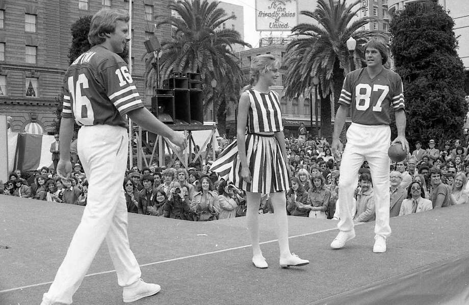 May 13, 1982: The Super Bowl win led to endorsement opportunities -- often as a pair. Montana and Clark model sportswear during a Macy's fashion promo at Union Square. My wife remembers TV coverage -- probably local news. Photo: Fred Larson, The Chronicle / ONLINE_YES