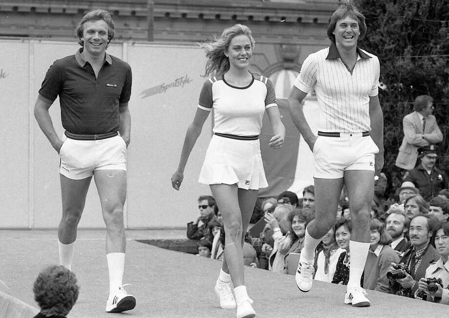"May 13, 1982: Short shorts and tight shirts during the Macy's fashion promo in Union Square. (Nut-hugging white shorts were the style in 1982. See: Chevy Chase in ""Caddyshack."") That's Clark's then-girlfriend and Miss Universe Shawn Weatherly in the middle. Photo: Fred Larson, The Chronicle / ONLINE_YES"