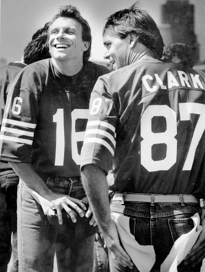 July 17, 1986: Joe Montana and Dwight Clark shoot a poster for Continental Savings. I think I had this on my wall. It had something to do with street football. Photo: Fred Larson, The Chronicle / ONLINE_YES