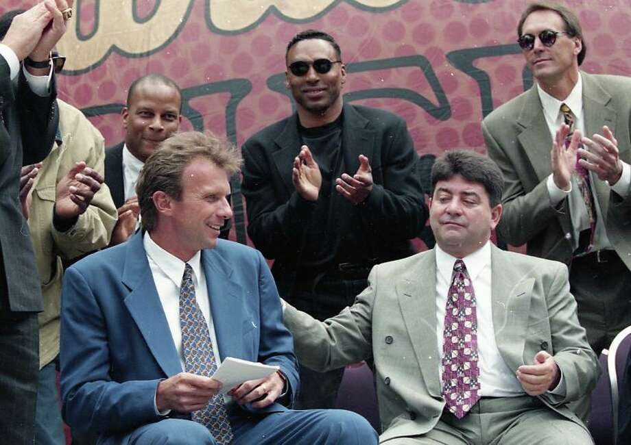 April 18, 1995: Joe Montana with Eddie DeBartolo Jr, Ronnie Lott, Roger Craig and Clark at Montana's retirement party in Justin Herman Plaza. Photo: Michael Macor, The Chronicle / ONLINE_YES