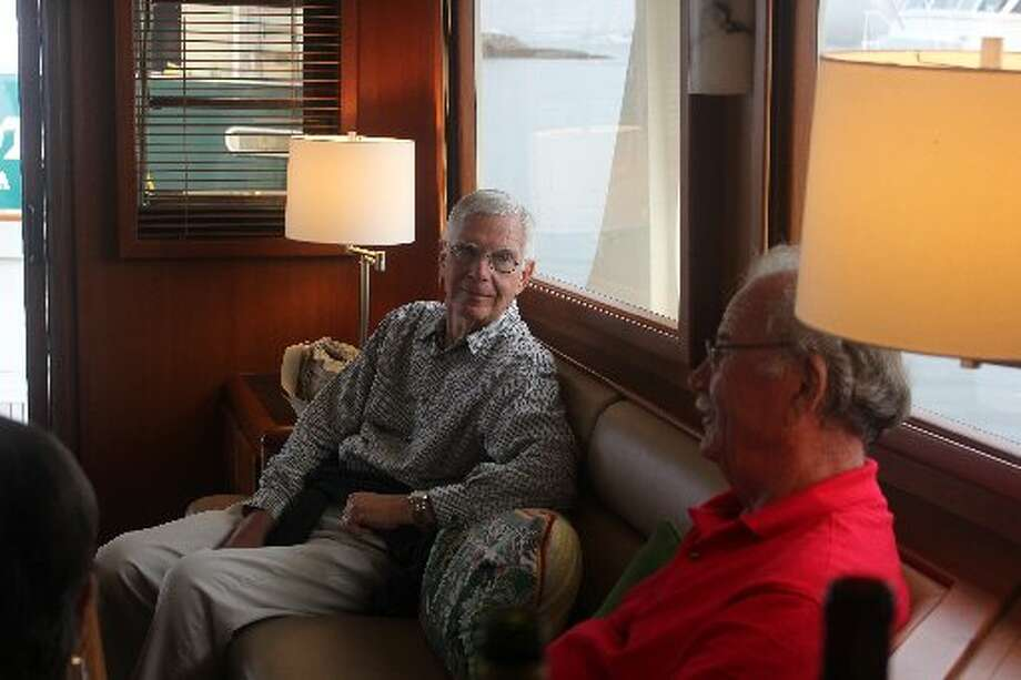 Phil Hardberger visits with friend Fred Pfeiffer, a San Antonio lawyer, in Southwest Harbor, Maine.