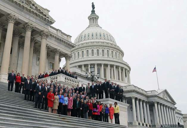 WASHINGTON, DC - NOVEMBER 15:  Congressional freshmen of the 113th Congress pose for a class picture on the steps of the U.S. Capitol on November 15, 2012 in Washington DC. The freshmen have arrived on Capitol Hill for orientation this week. The 109th Congress will officially begin in January, next year. (Photo by Mark Wilson/Getty Images) Photo: Mark Wilson, Getty Images / 2012 Getty Images