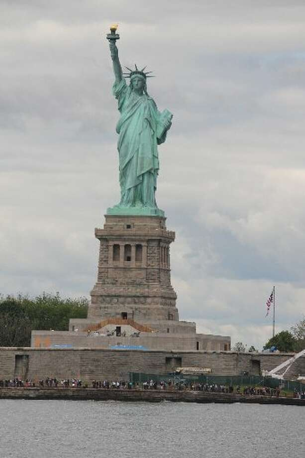 A stop in New York gave the Hardbergers a closeup look at the State of Liberty from their boat Aimless