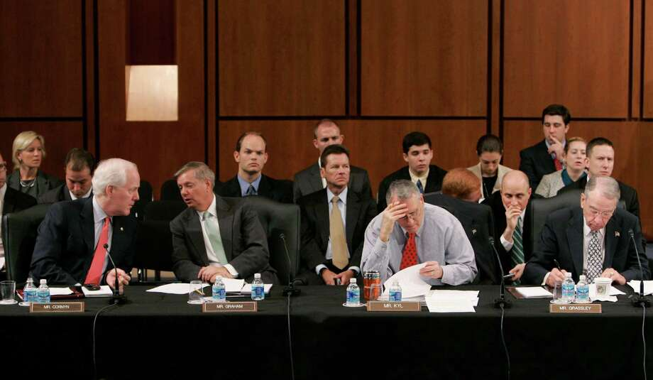Republican members of the Senate Judiciary Committee, including Sen. John Cornyn, participate in the committee's markup vote on Supreme Court nominee Sonia Sotomayor, Tuesday, July 28, 2009, on Capitol Hill in Washington. (Susan Walsh / The Associated Press) Photo: Susan Walsh, AP / AP