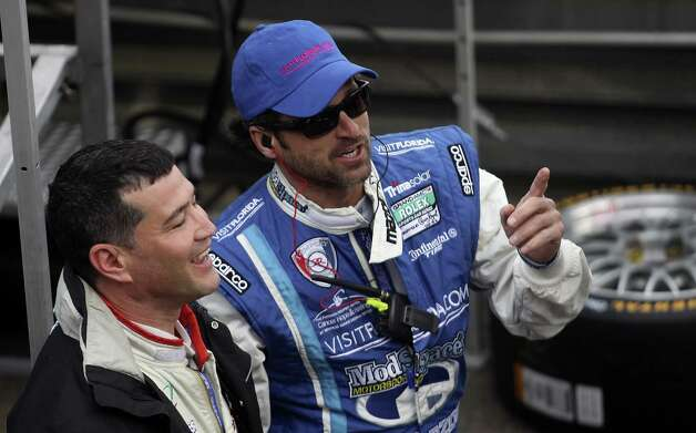 """Grey's Anatomy"" star and racing enthusiast Patrick Dempsey (right, with driver Charles Espenlaub) is expected in Austin this weekend. Photo: File Photo, Getty Images / 2011 Getty Images"