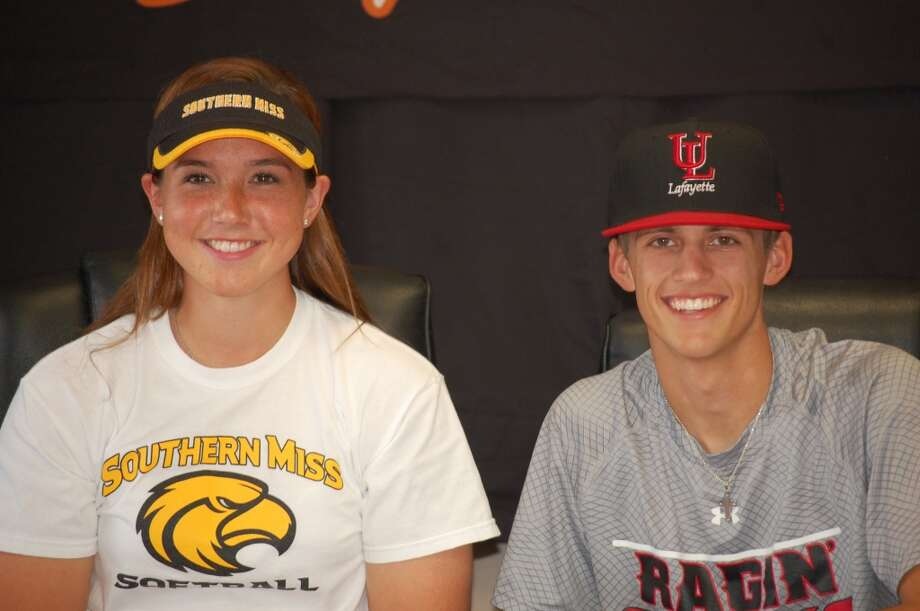 Sammy Robles of Texas City signs to become part of Southern Miss softball team as Riley Cooper signs to become part of Louisiana- Lafayette baseball team  (Courtesy of Texas City Athletic Department)