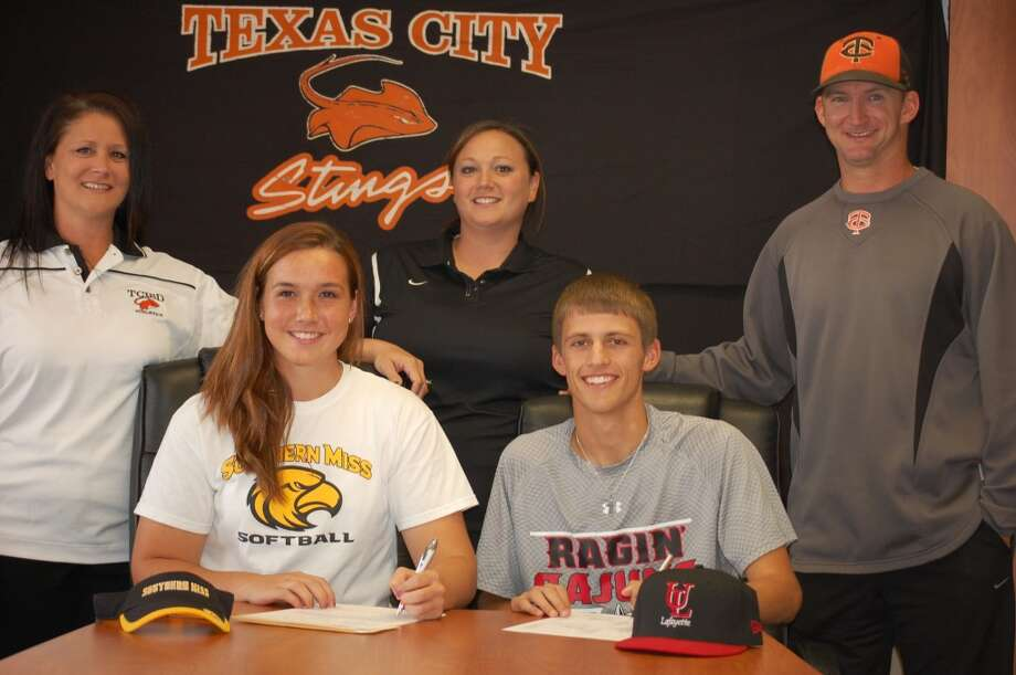 Sammy and Riley with their coaches (Courtesy of Texas City Athletic Department)