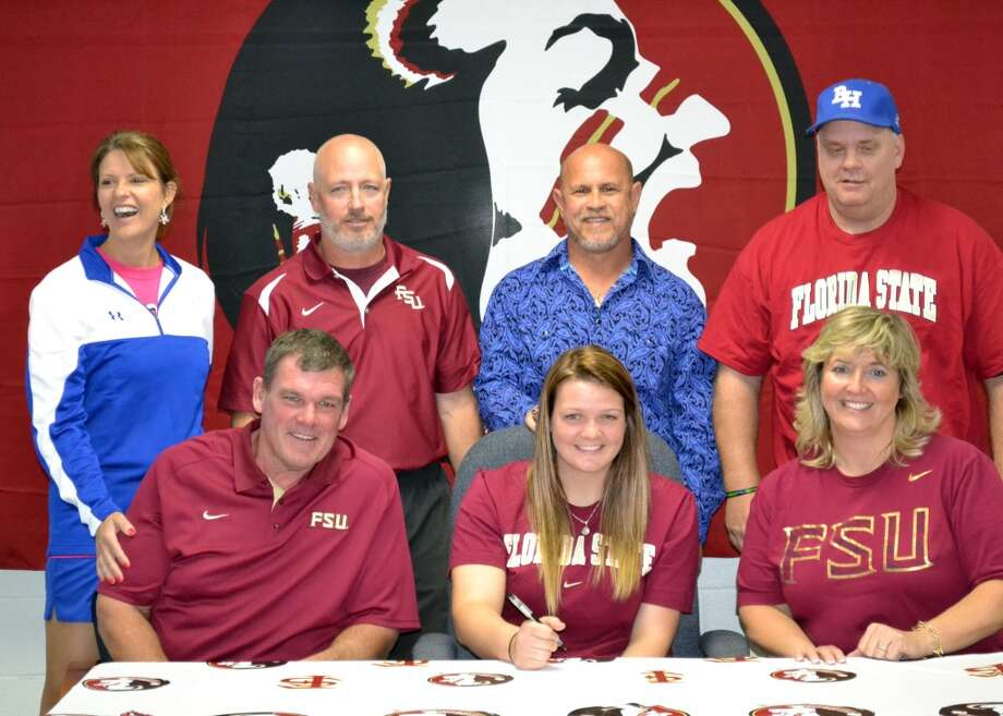 Rylan Harvey (InField) of Barbers Hill with family and coaches as she signs to play for Florida State softball team  (Courtesy of Barbers Hill Athletic Department)