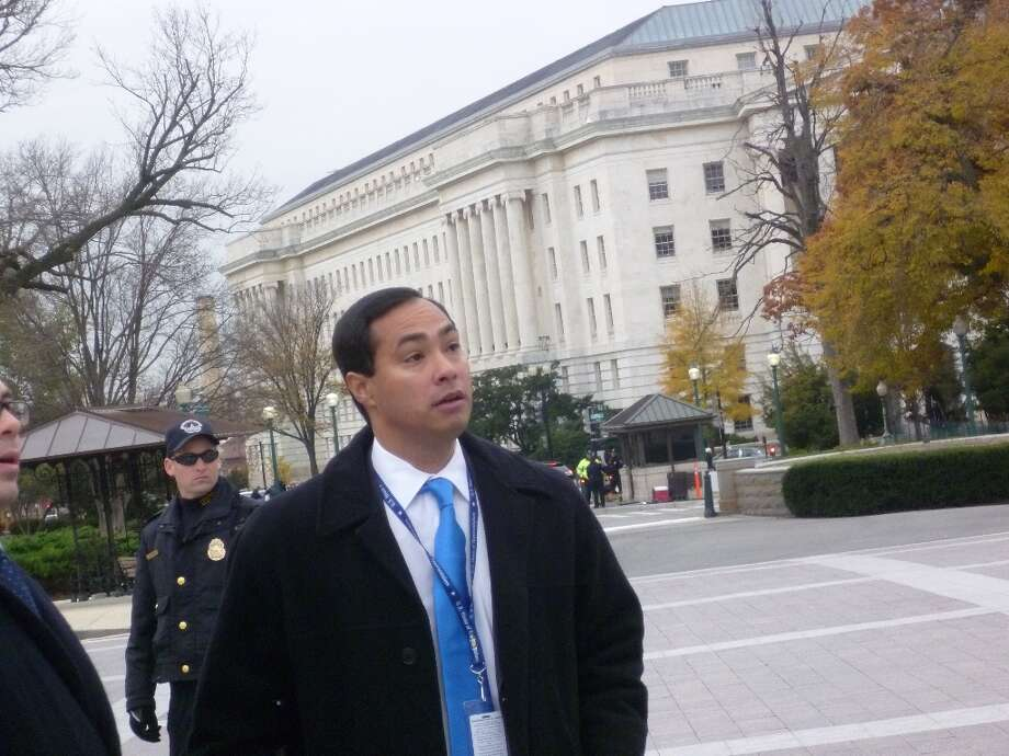 Joaquin Castro walking towards the steps of the Capitol to join House freshmen for their official photo.
