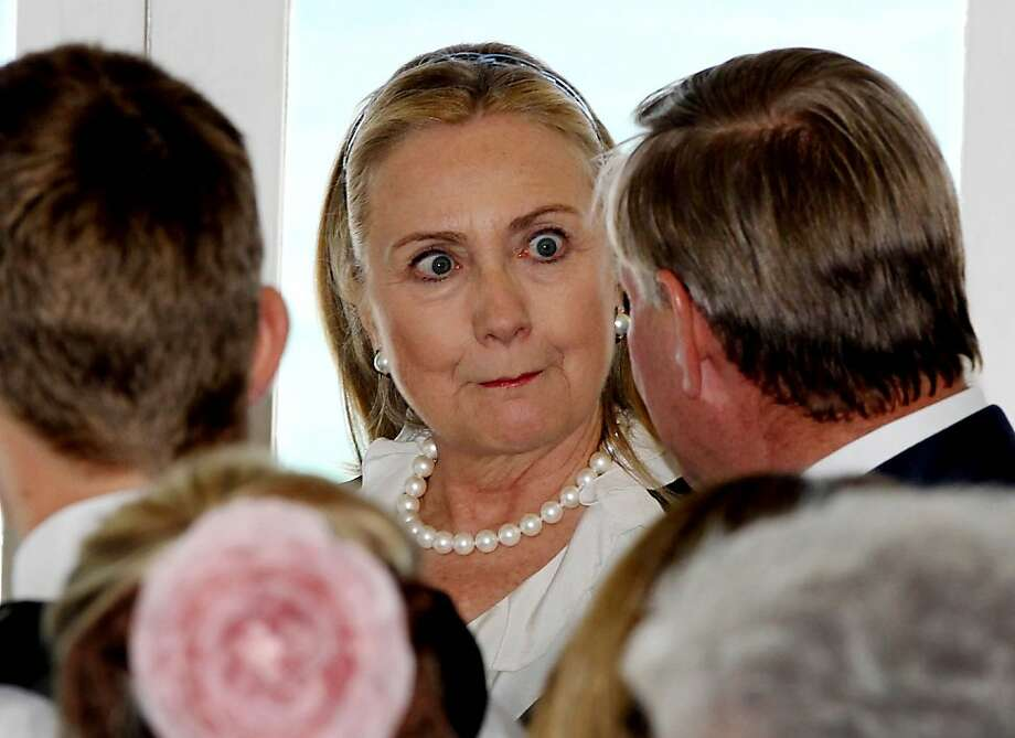 Hillary's crazy eyes: President Obama's plan to boost U.S. military presence in the Asia-Pacific by basing carriers and nuclear subs south of Perth is getting a lukewarm reception from Australia. Perhaps that explains the secretary of state's reaction to something Premier of Western Australia Colin Barnett is saying at the Australia-United States Ministerial Consultation in Cottesloe Beach. Photo: Pool, Getty Images