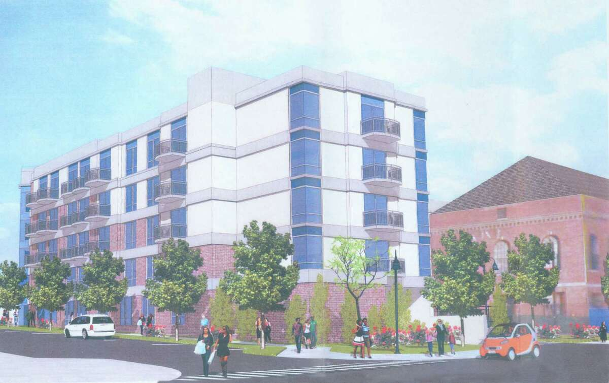 Rendering of a proposed 102-unit housing development on the corner of Market and Pacific Streets.