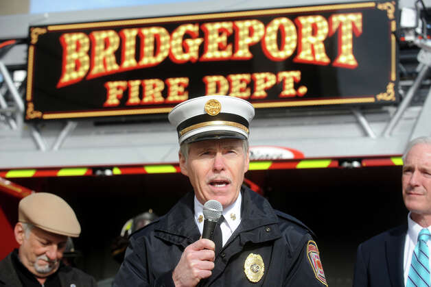 Bridgeport Fire Chief Brian Rooney speaks at the unveiling of Tower Ladder 5, his department's new truck, in Bridgeport, Conn. Nov. 15th, 2012. Photo: Ned Gerard / Connecticut Post