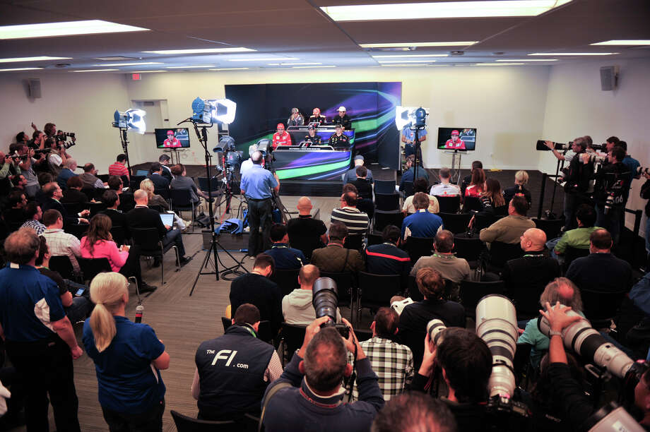 A large crowd of worldwide media cover the Thursday press conference of Formula 1 drivers at the Circuit of the America's near Austin. Photo: Robin Jerstad/For The Express-Ne
