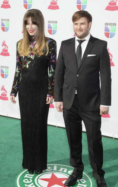 Singer Pamela Rodriguez and David Little arrive for the 13th Annual Latin Grammy Awards on November